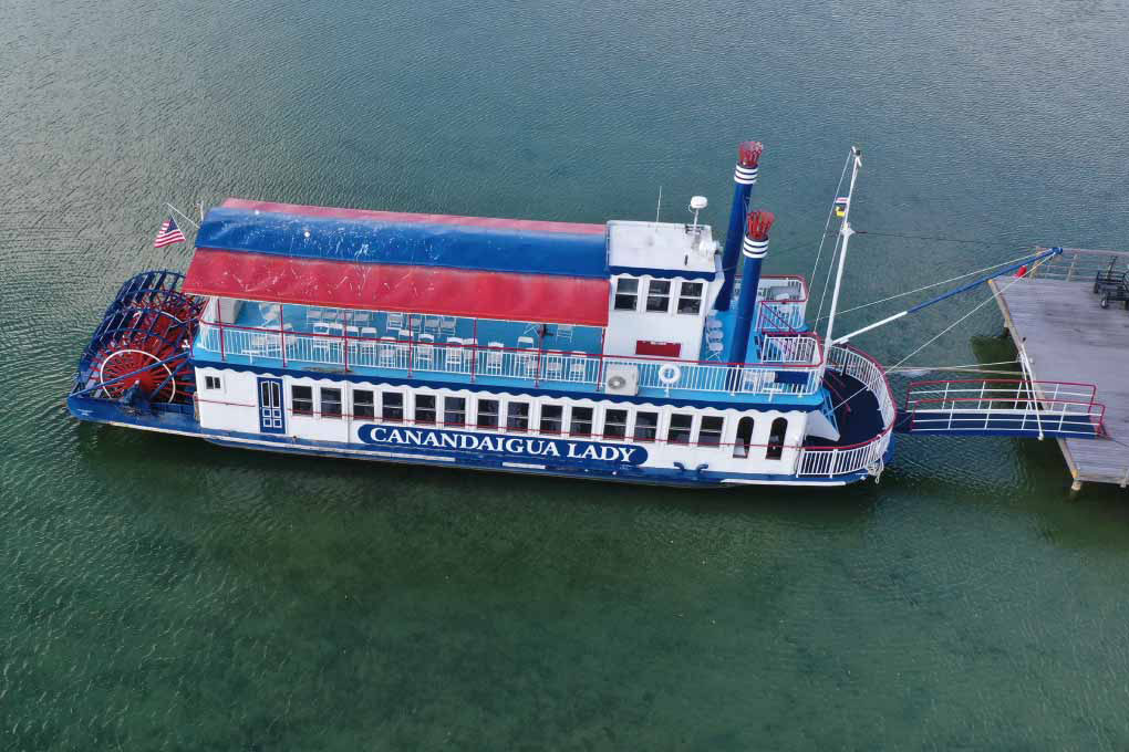 Aerial video of a steamboat
