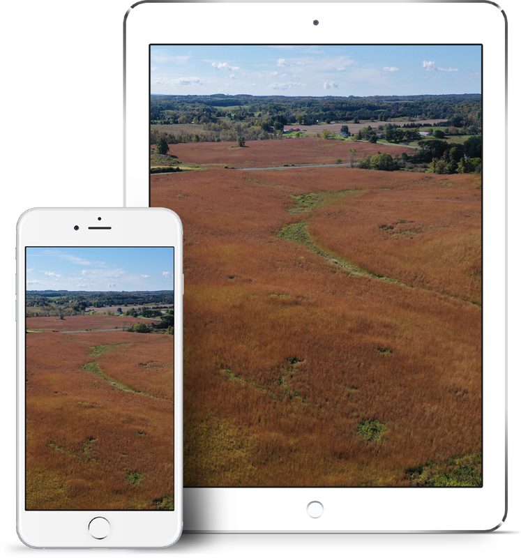 Phone and tablet image of drone photography